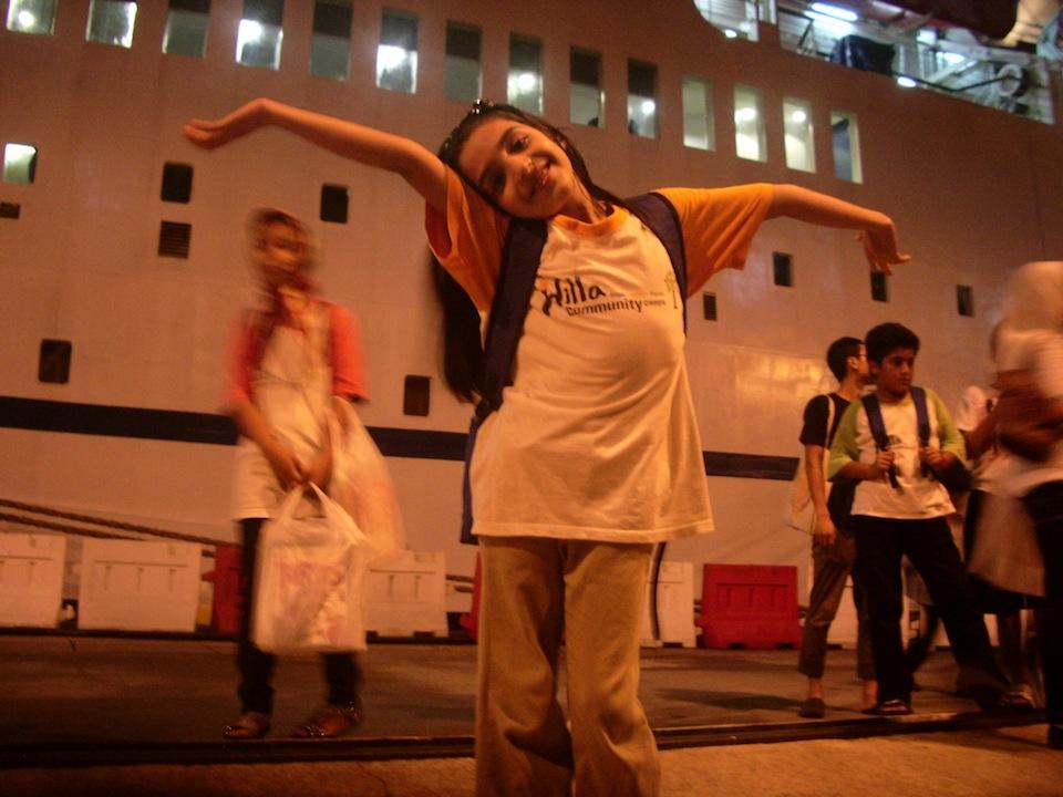 Hilla students outside the Logos ship.JPG